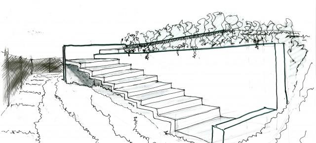 Schema di scala per giardino a quote diverse