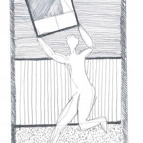 Uomo con quadro - inchiostro su carta